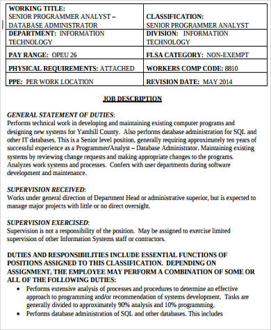 Sample Computer Programmer Job Descriptions   Examples In Word Pdf