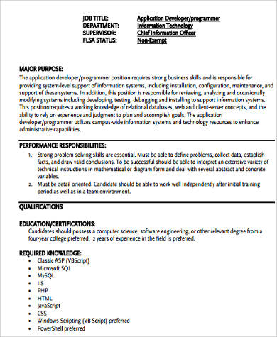 computer application programmer job description