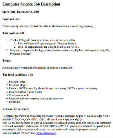 Sample Computer Programmer Job Descriptions - 11+ Examples in Word, PDF