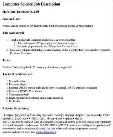 computer science programmer job description