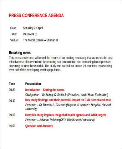 conference agenda format