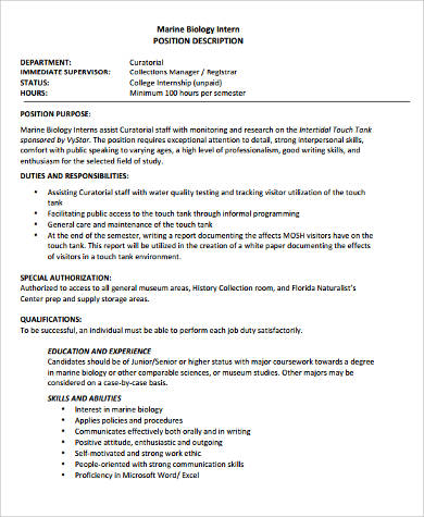 marine biology intern job description