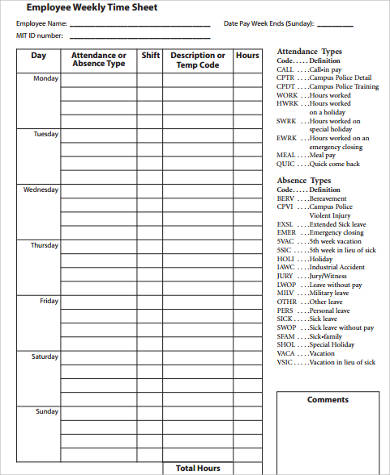 Free 9 Sample Weekly Time Sheet Templates In Ms Word Pdf