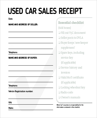 car sales receipt