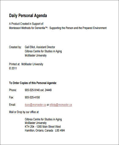 daily agenda format printable