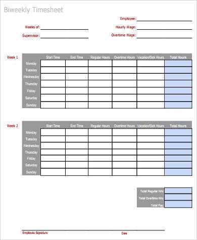 sample bi weekly time sheet2