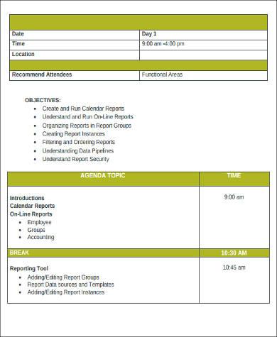 agenda report format