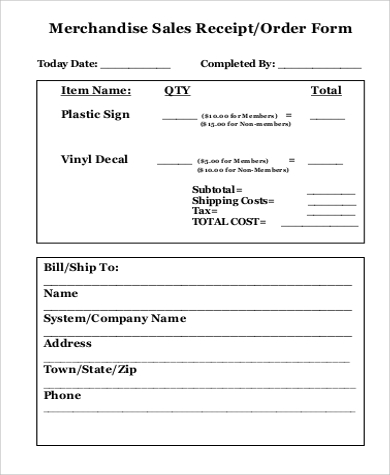 merchandise sales receipt