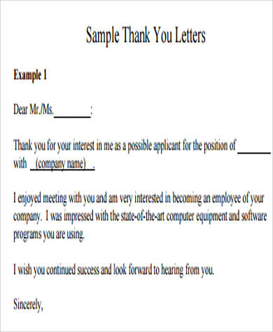 thank you letter for job application