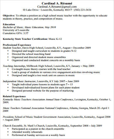 Sample Music Teacher Resume Objective  Piano Teacher Resume