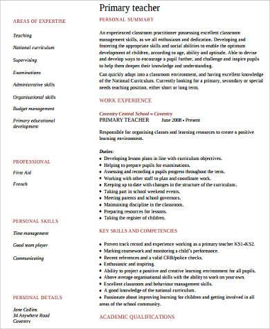 primary teacher resume example