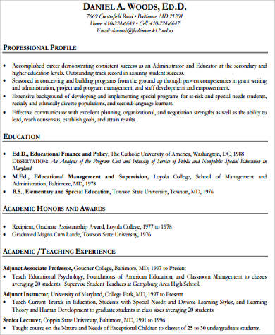 Experienced Teacher Resume Example