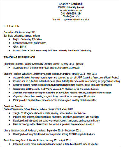 student teacher resume experience