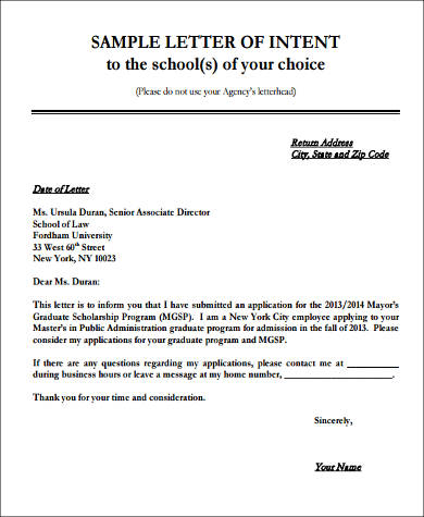 Letter Of Intent Sample   Examples In Word Pdf