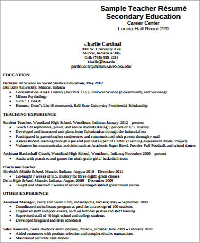 Teacher Resume Examples - 8+ Samples In Word, Pdf