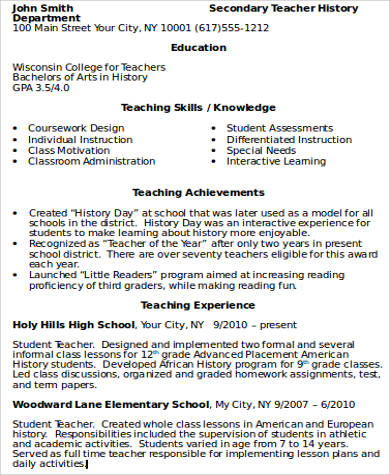 Teacher Resume Examples   Samples In Word Pdf