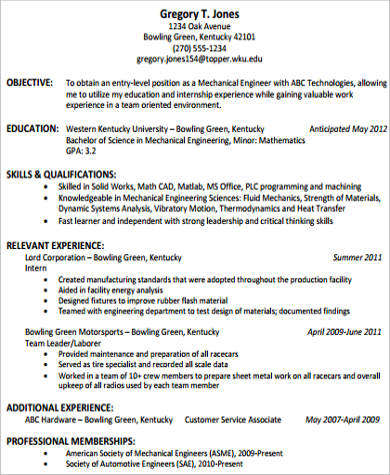 Technical Skills In Resume For Mechanical Engineer
