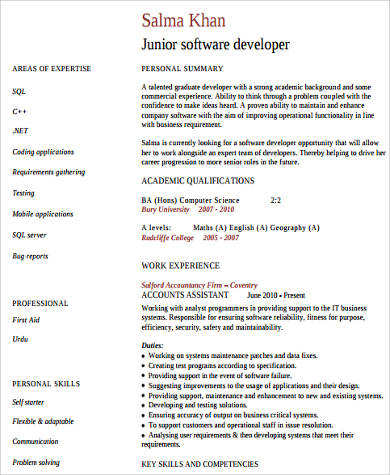 software developer technical skills resume