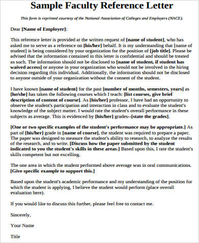 reference letter for job from faculty