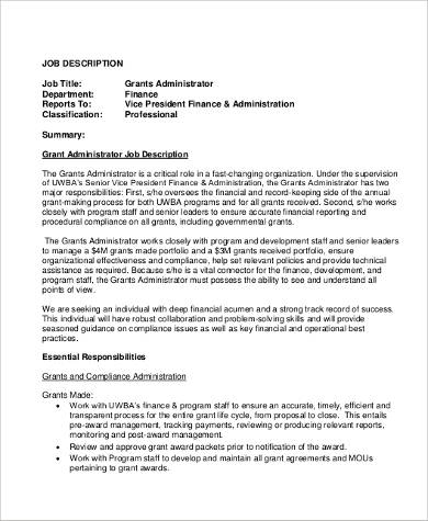 Sample Administrator Job Description   Examples In Pdf Word