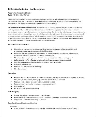 9 administrator job description samples sample templates - Office administrator job responsibilities ...