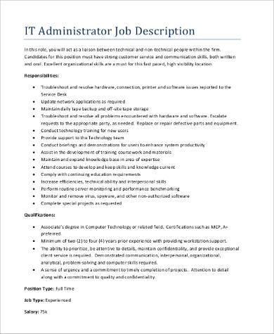 it administrator job description