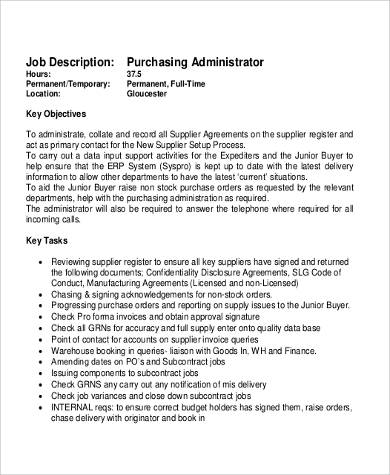 purchasing administrator job description