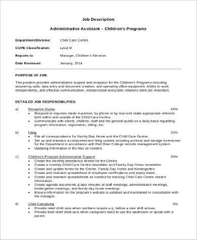 job description for administrative assistant