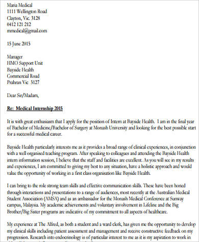 medical cover letter for resume