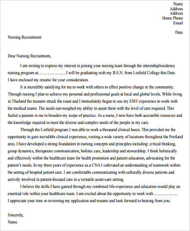 nursing cover letter for resume
