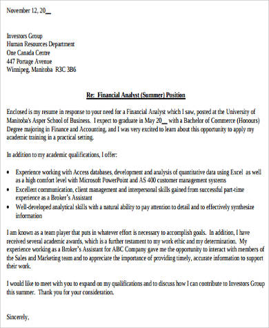 financial resume cover letter