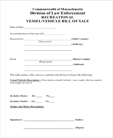 Sample Trailer Bill Of Sale   Examples In Pdf Word