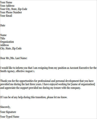 Sample job resignation letter 8 examples in word pdf sample job resignation letter example expocarfo