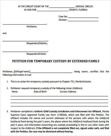 Sample Temporary Custody Form   Examples In Word Pdf