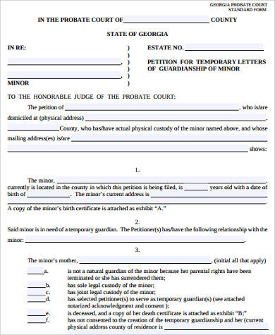temporary custody legal form
