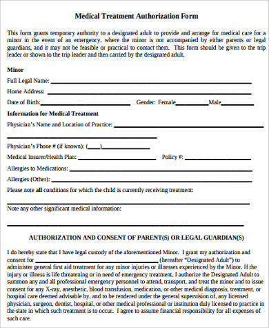 temporary custody medical form