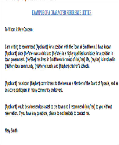 professional character reference letter sample