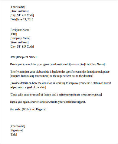 Sample Fundraising Letters Sample Templates - Letter for donations for fundraiser template