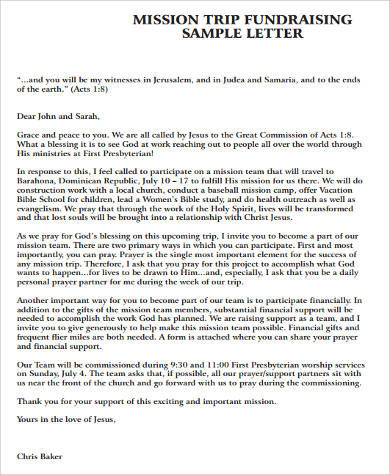 mission trip fundraising sample letter