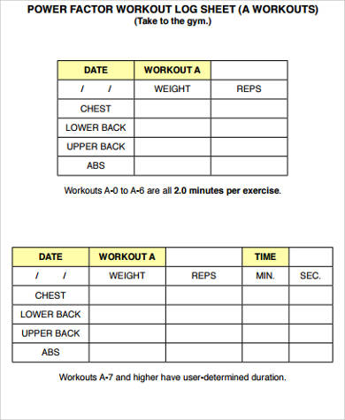Sample Workout Sheet   Examples In Word Pdf