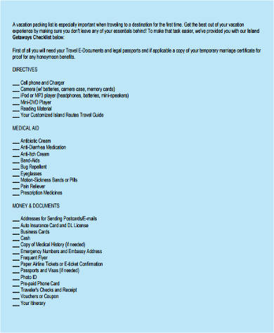 vacation packing list checklist