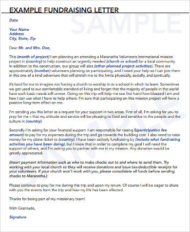 Sample Fundraising Letter   Examples In Word Pdf