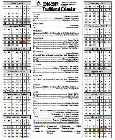 Sample School Calendar   Examples In Word Pdf