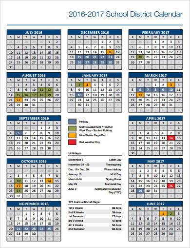 school district calendar example