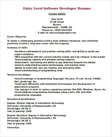 entry level software developer resume programmerresumenet - Sample Software Engineer Resume