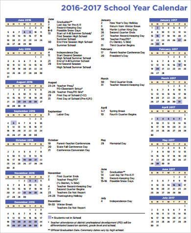school one page calendar