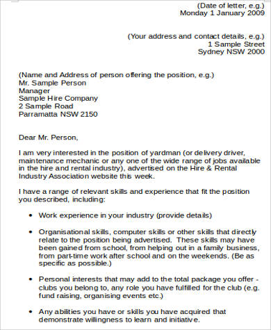 job application cover letter word