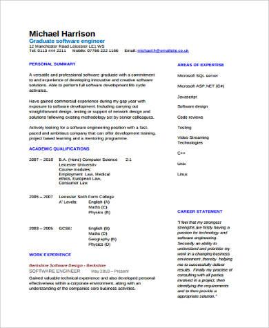 graduate software developer engineer resume