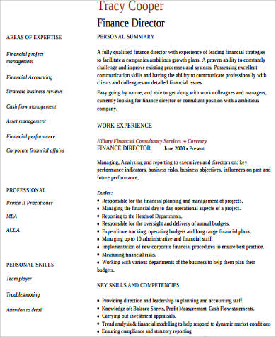 Sample Director Of Finance Resume  Finance Resume Skills