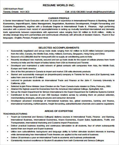 trade finance resume pdf